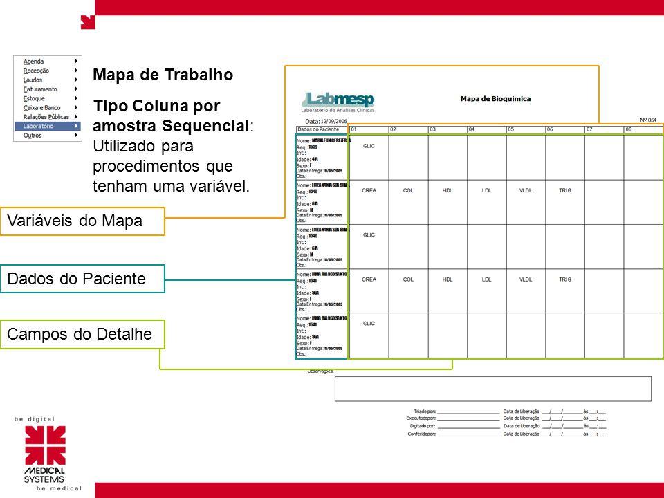 Mapa de Trabalho Variáveis do Mapa. Tipo Coluna por amostra Sequencial: Utilizado para procedimentos que tenham uma variável.