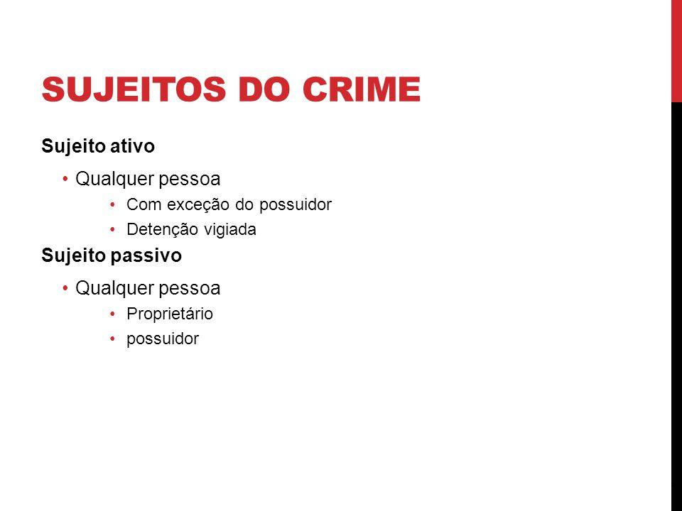 Sujeitos do crime Sujeito ativo Qualquer pessoa Sujeito passivo