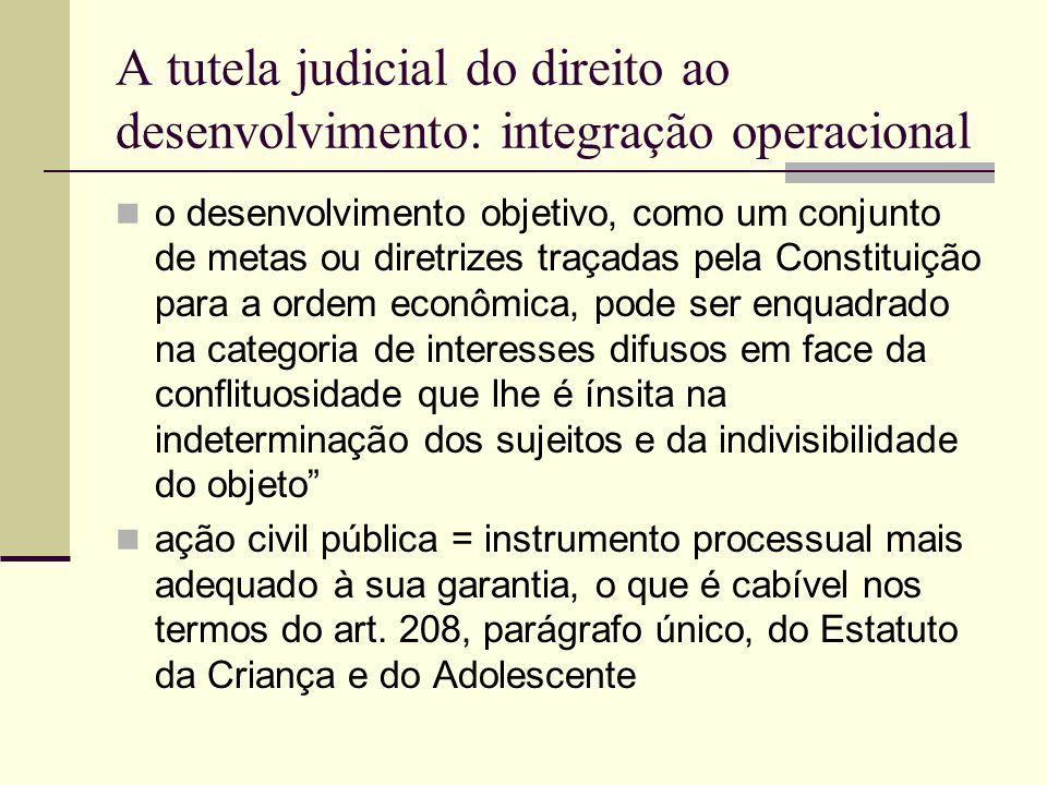 A tutela judicial do direito ao desenvolvimento: integração operacional