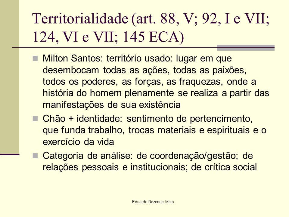 Territorialidade (art. 88, V; 92, I e VII; 124, VI e VII; 145 ECA)