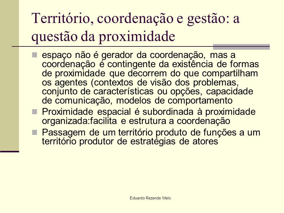 Território, coordenação e gestão: a questão da proximidade