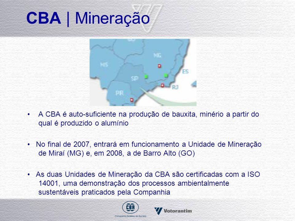 CBA | Mineração A CBA é auto-suficiente na produção de bauxita, minério a partir do qual é produzido o alumínio.