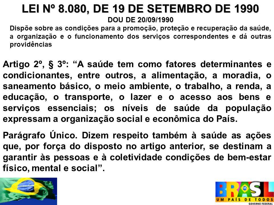 LEI Nº 8.080, DE 19 DE SETEMBRO DE 1990 DOU DE 20/09/1990.