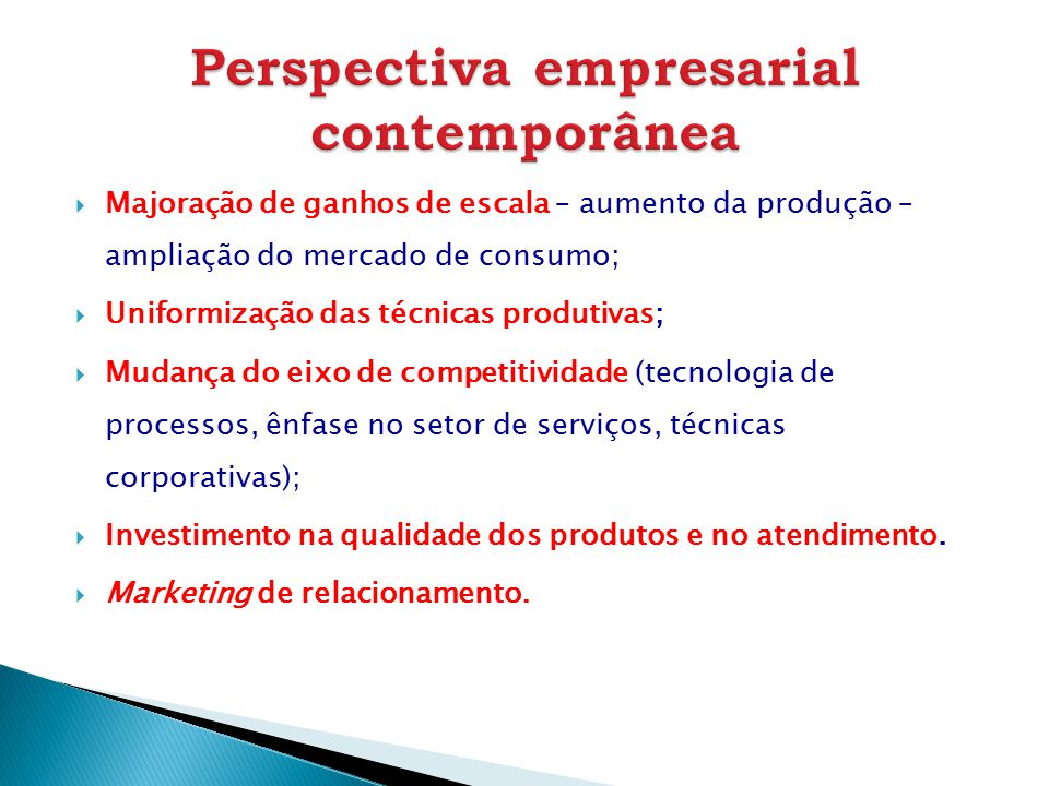 Perspectiva empresarial contemporânea