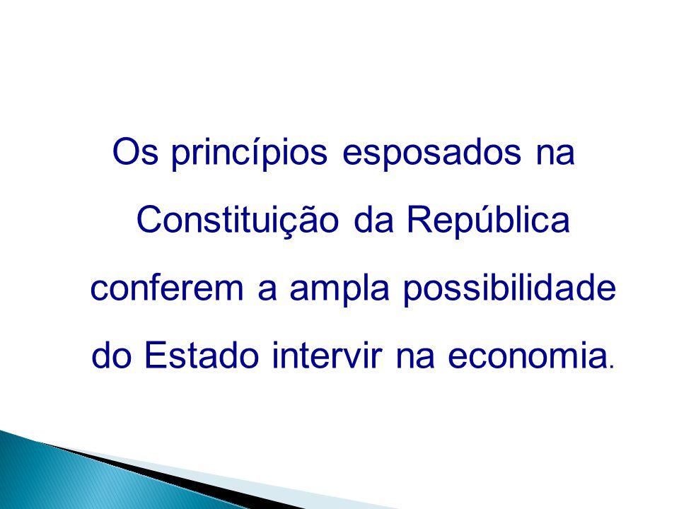 Os princípios esposados na Constituição da República conferem a ampla possibilidade do Estado intervir na economia.