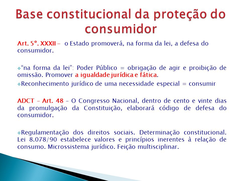 Base constitucional da proteção do consumidor