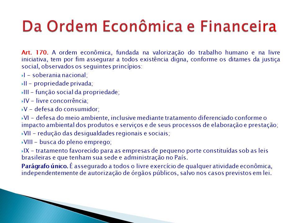 Da Ordem Econômica e Financeira