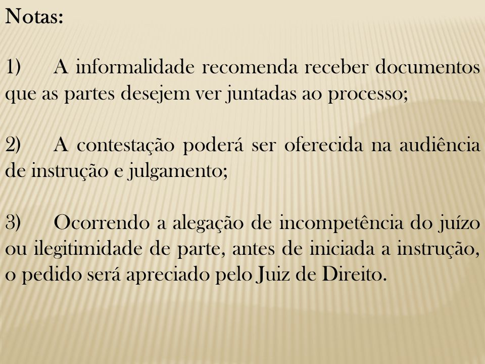 Notas: 1) A informalidade recomenda receber documentos que as partes desejem ver juntadas ao processo;