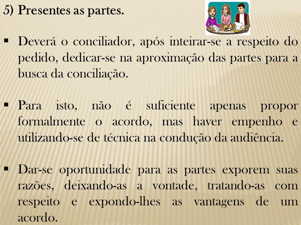 Presentes as partes. Deverá o conciliador, após inteirar-se a respeito do pedido, dedicar-se na aproximação das partes para a busca da conciliação.