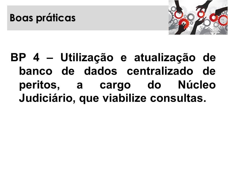 Boas práticas BP 4 – Utilização e atualização de banco de dados centralizado de peritos, a cargo do Núcleo Judiciário, que viabilize consultas.