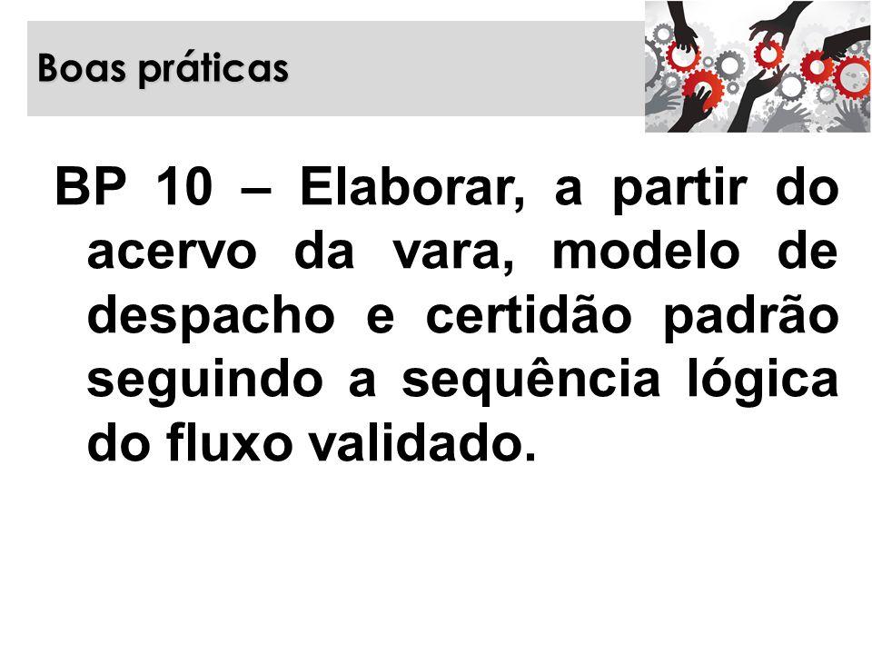 Boas práticas BP 10 – Elaborar, a partir do acervo da vara, modelo de despacho e certidão padrão seguindo a sequência lógica do fluxo validado.