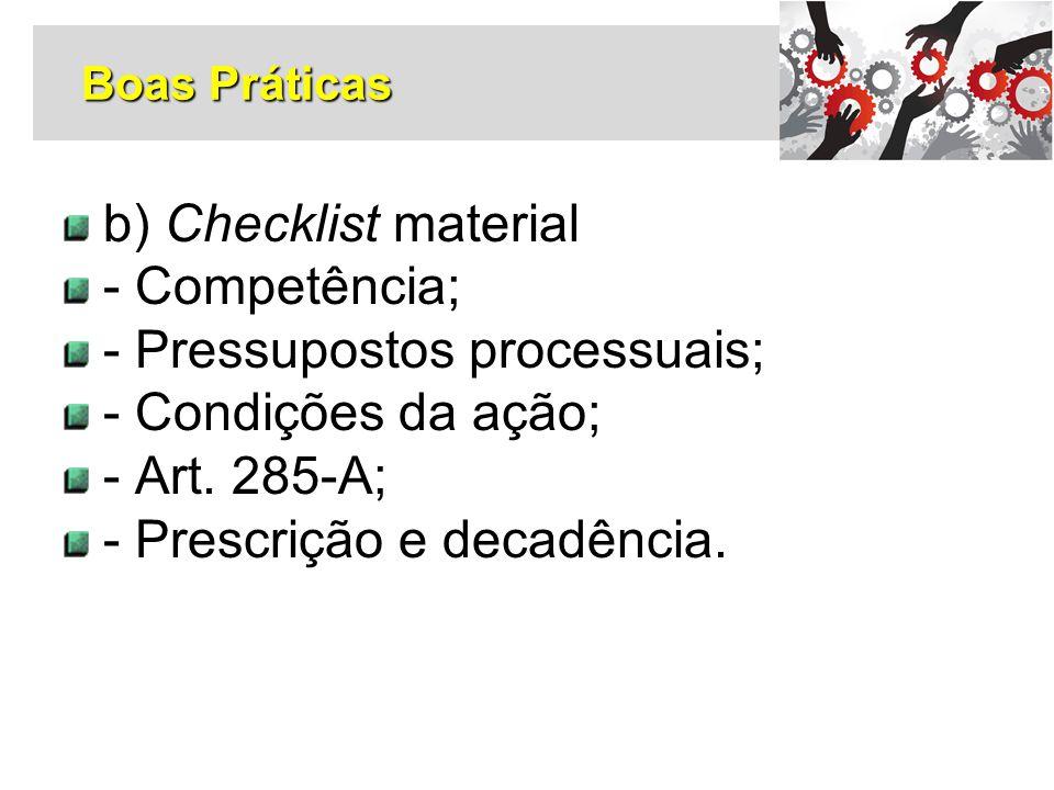 - Pressupostos processuais; - Condições da ação; - Art. 285-A;