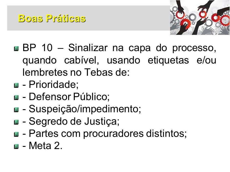 Boas Práticas BP 10 – Sinalizar na capa do processo, quando cabível, usando etiquetas e/ou lembretes no Tebas de: