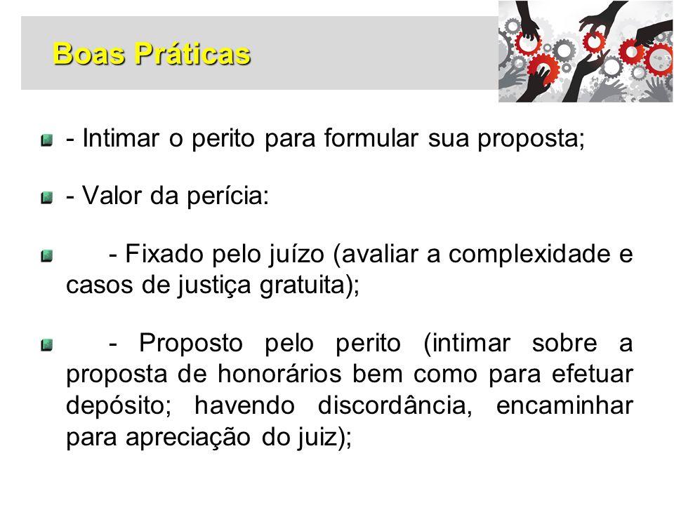 Boas Práticas - Intimar o perito para formular sua proposta;