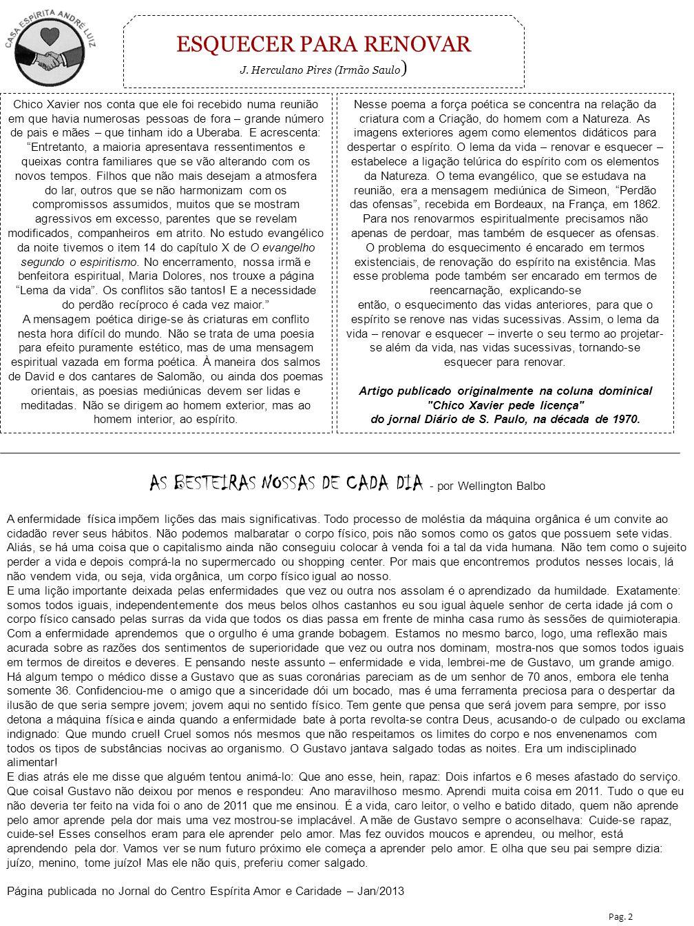 ESQUECER PARA RENOVAR J. Herculano Pires (Irmão Saulo)