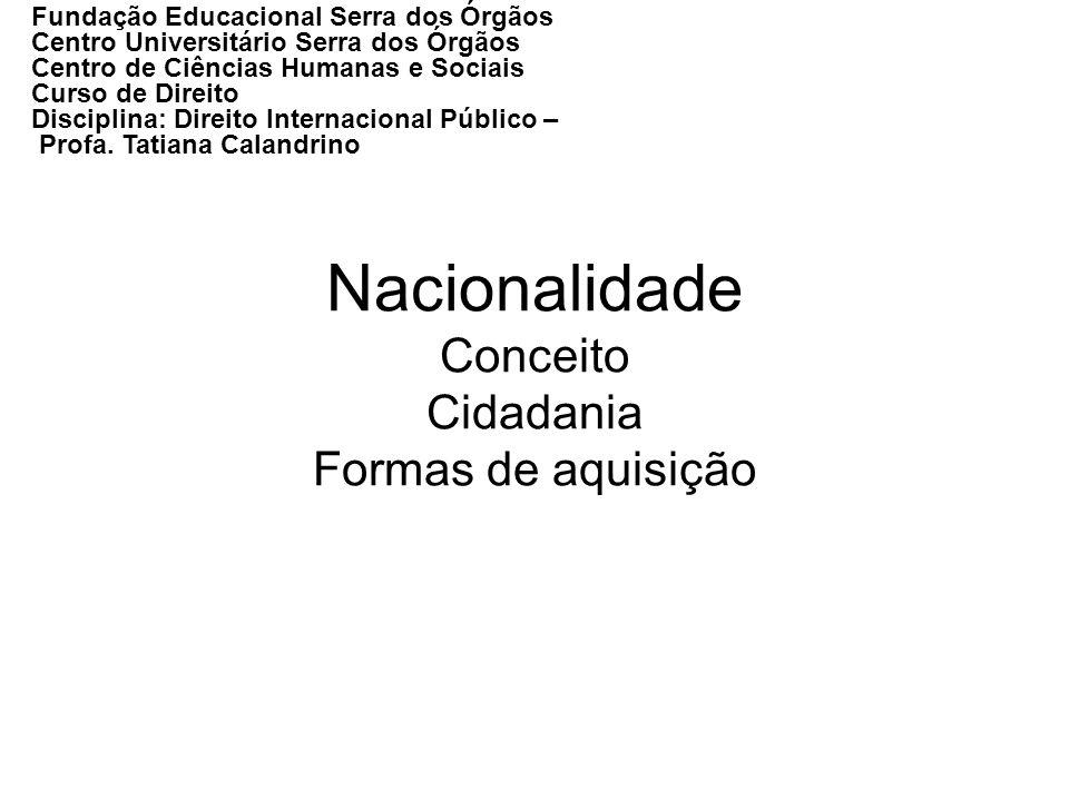 Nacionalidade Conceito Cidadania Formas de aquisição