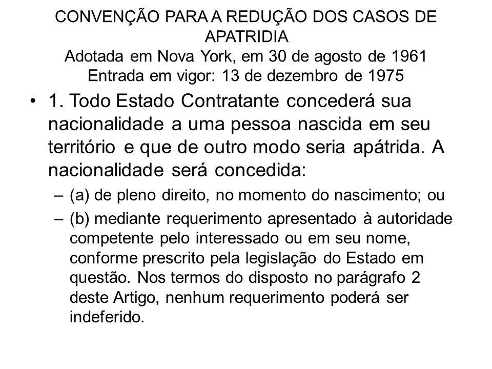 CONVENÇÃO PARA A REDUÇÃO DOS CASOS DE APATRIDIA Adotada em Nova York, em 30 de agosto de 1961 Entrada em vigor: 13 de dezembro de 1975
