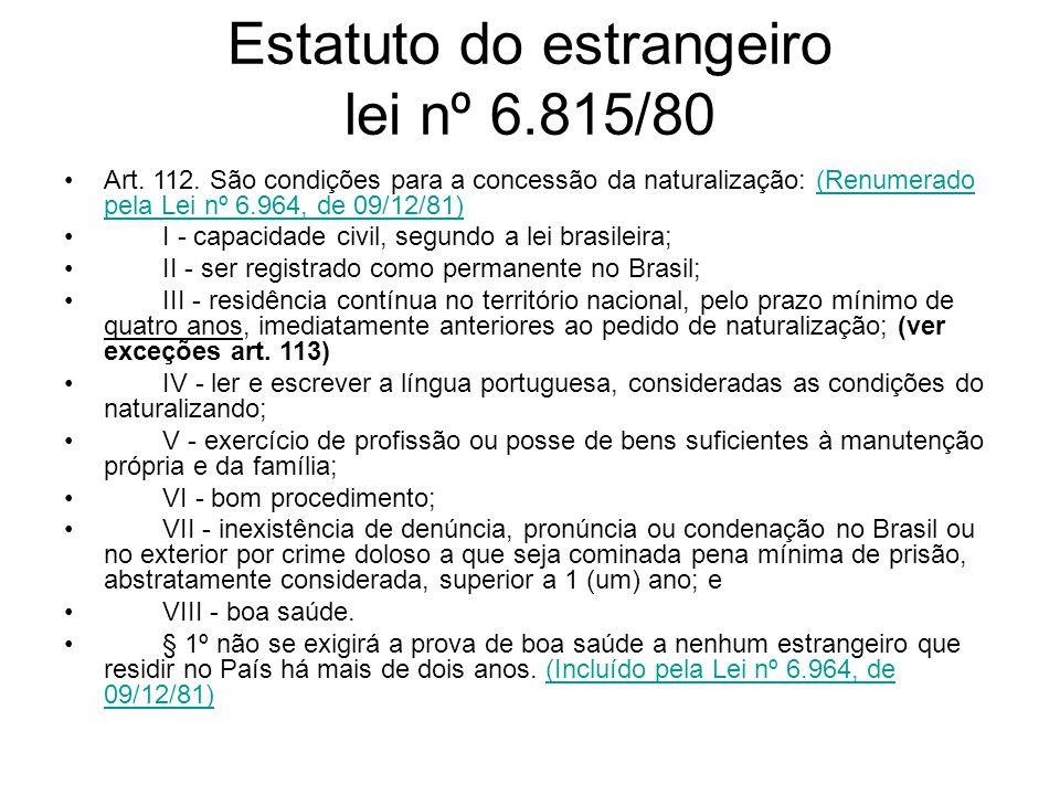 Estatuto do estrangeiro lei nº 6.815/80
