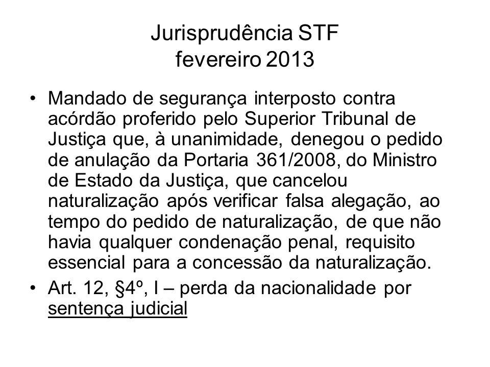 Jurisprudência STF fevereiro 2013