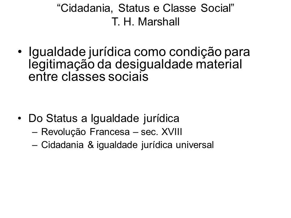Cidadania, Status e Classe Social T. H. Marshall