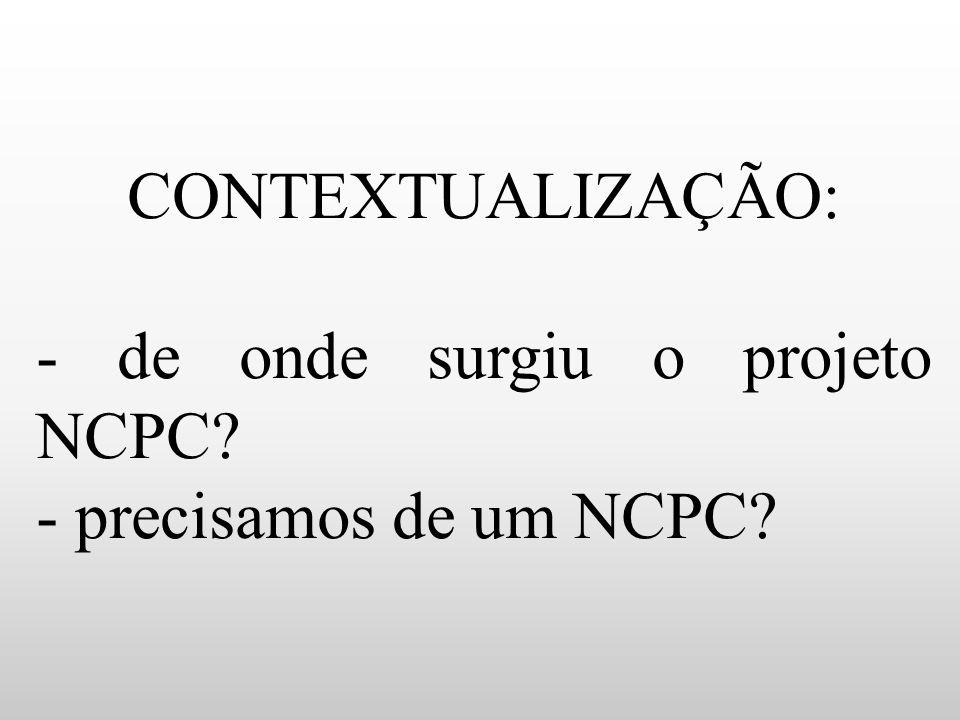 - de onde surgiu o projeto NCPC - precisamos de um NCPC