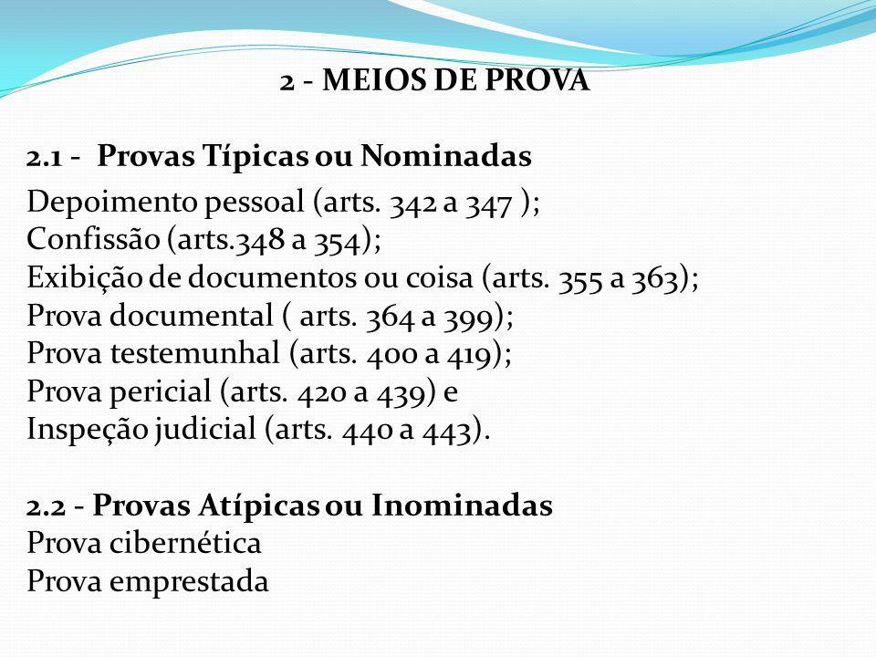 2 - MEIOS DE PROVA 2.1 - Provas Típicas ou Nominadas Depoimento pessoal (arts.