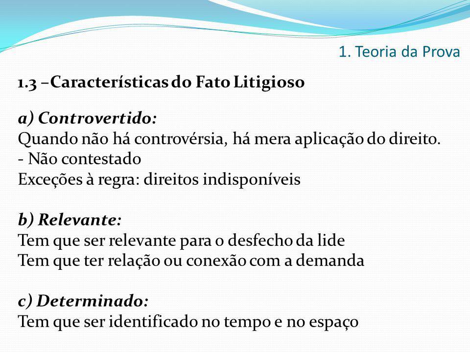 1. Teoria da Prova 1.3 –Características do Fato Litigioso. a) Controvertido: Quando não há controvérsia, há mera aplicação do direito.