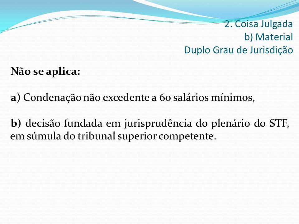2. Coisa Julgada b) Material Duplo Grau de Jurisdição