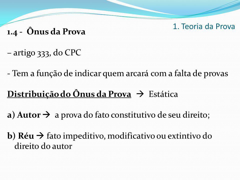 1. Teoria da Prova 1.4 - Ônus da Prova. – artigo 333, do CPC. - Tem a função de indicar quem arcará com a falta de provas.