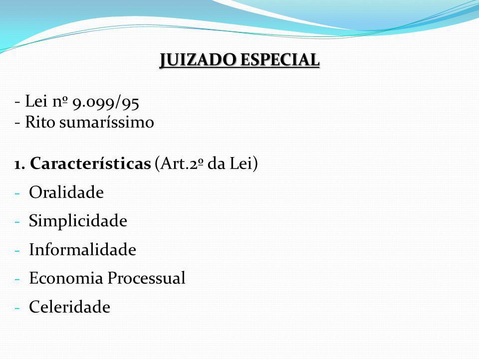 JUIZADO ESPECIAL - Lei nº 9.099/95. - Rito sumaríssimo. 1. Características (Art.2º da Lei) Oralidade.