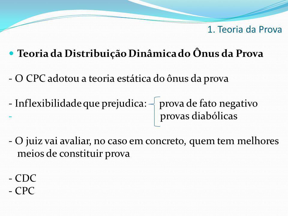 1. Teoria da Prova Teoria da Distribuição Dinâmica do Ônus da Prova. - O CPC adotou a teoria estática do ônus da prova.