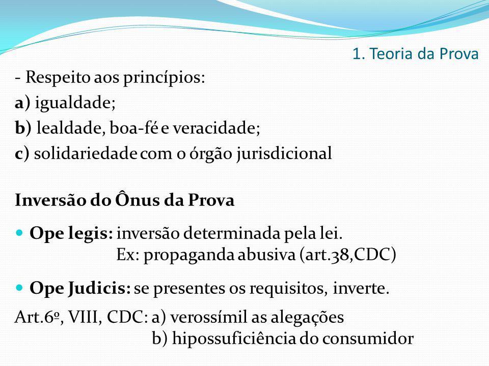 1. Teoria da Prova - Respeito aos princípios: a) igualdade;