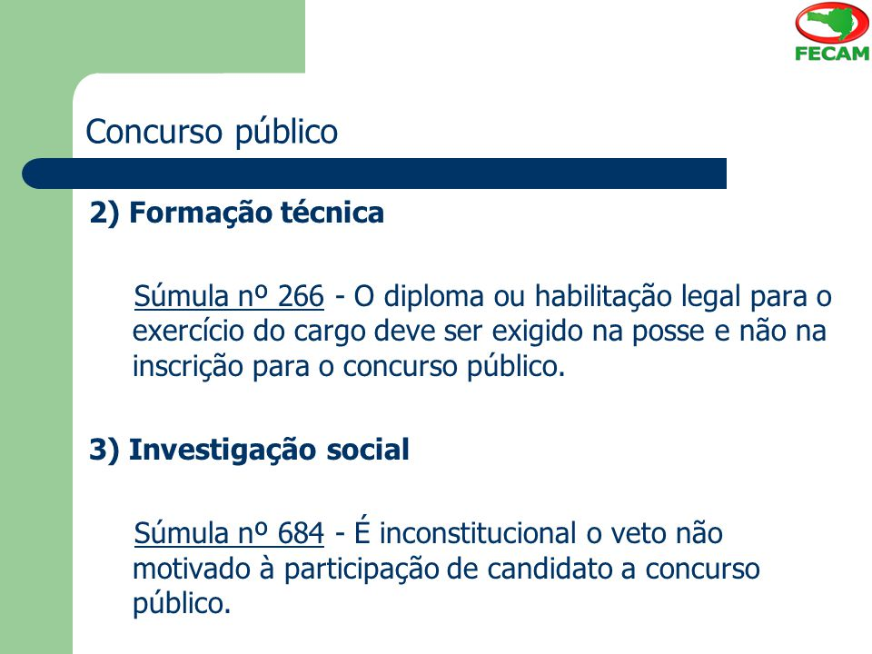 Concurso público 2) Formação técnica