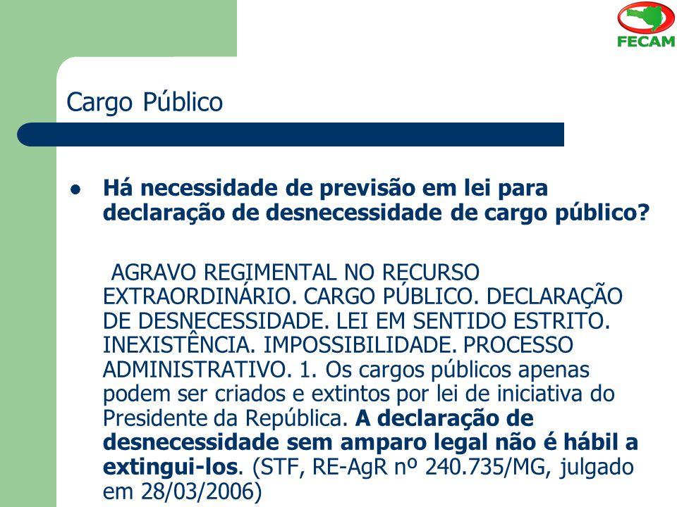 Cargo Público Há necessidade de previsão em lei para declaração de desnecessidade de cargo público