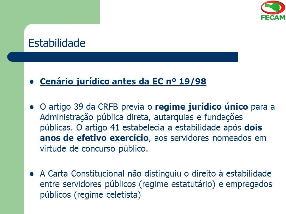 Estabilidade Cenário jurídico antes da EC nº 19/98