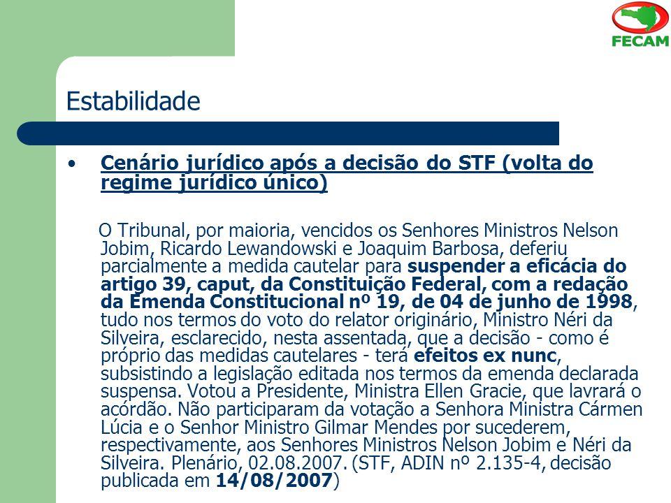 Estabilidade Cenário jurídico após a decisão do STF (volta do regime jurídico único)