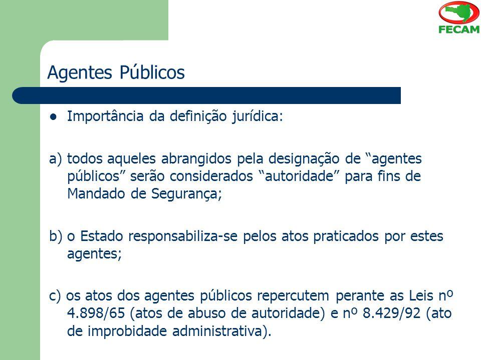 Agentes Públicos Importância da definição jurídica: