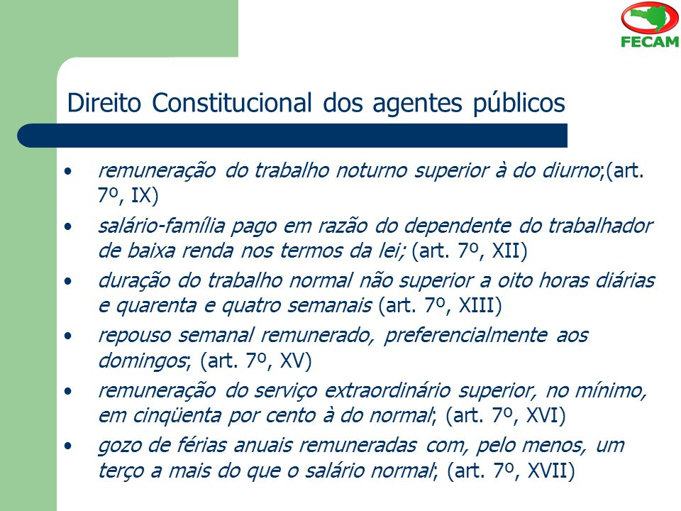 Direito Constitucional dos agentes públicos