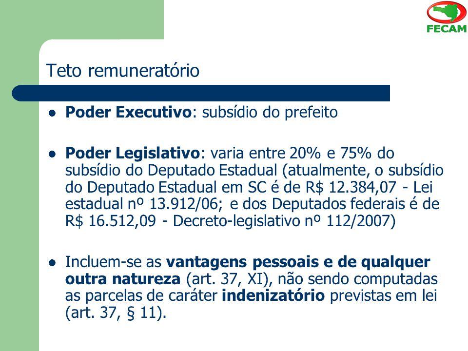 Teto remuneratório Poder Executivo: subsídio do prefeito