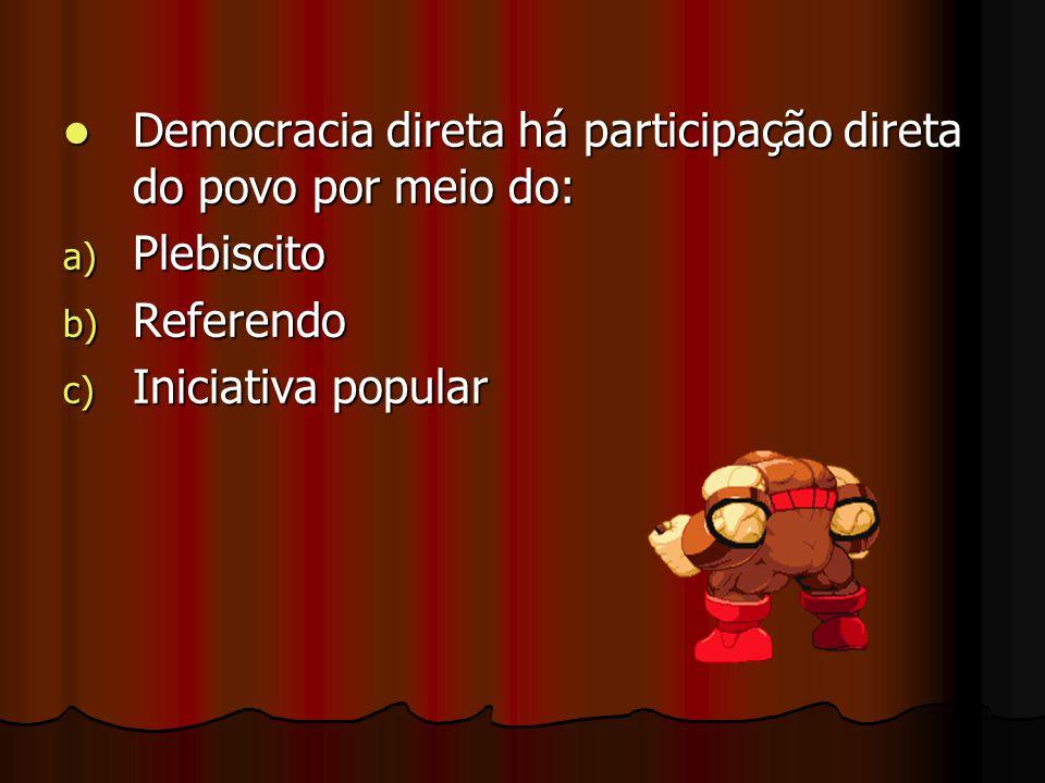 Democracia direta há participação direta do povo por meio do: