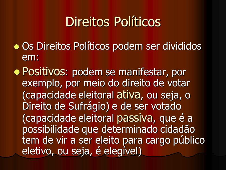 Direitos Políticos Os Direitos Políticos podem ser divididos em: