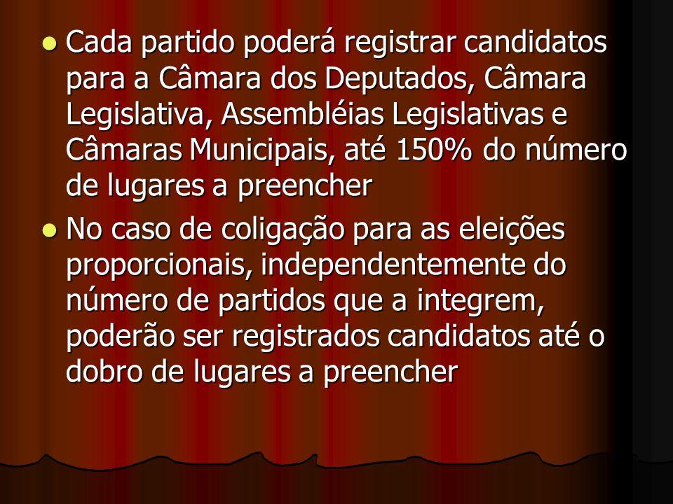 Cada partido poderá registrar candidatos para a Câmara dos Deputados, Câmara Legislativa, Assembléias Legislativas e Câmaras Municipais, até 150% do número de lugares a preencher