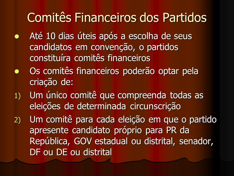 Comitês Financeiros dos Partidos