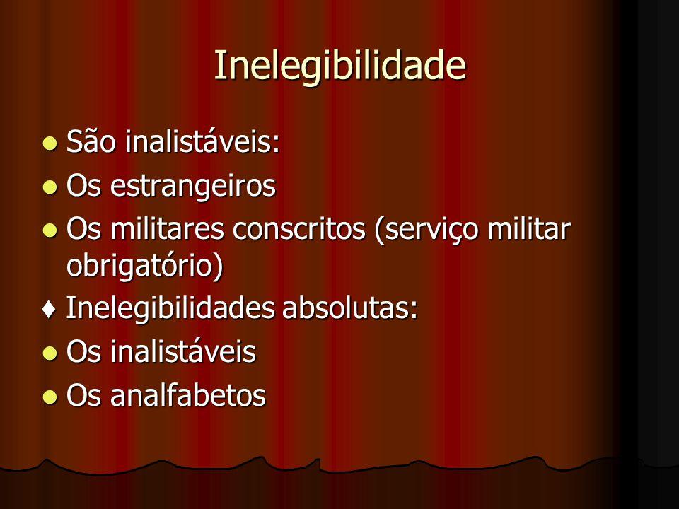 Inelegibilidade São inalistáveis: Os estrangeiros