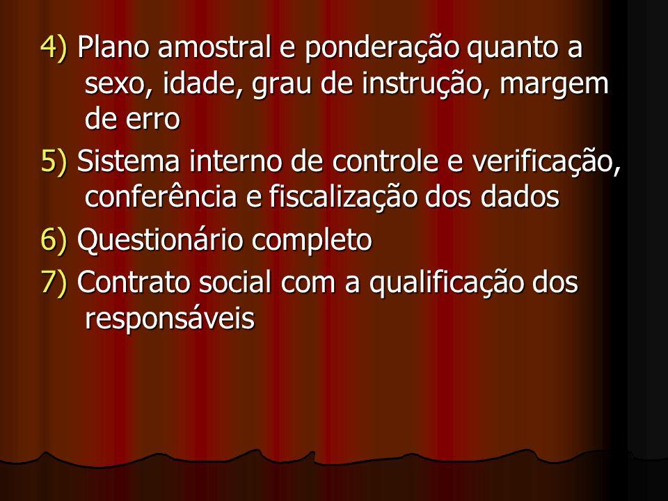 4) Plano amostral e ponderação quanto a sexo, idade, grau de instrução, margem de erro