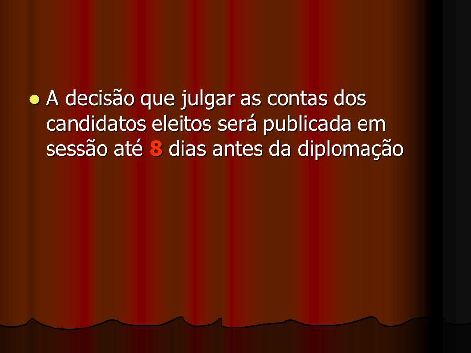A decisão que julgar as contas dos candidatos eleitos será publicada em sessão até 8 dias antes da diplomação