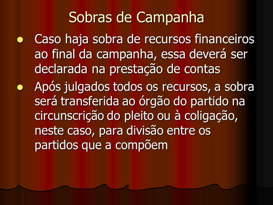 Sobras de Campanha Caso haja sobra de recursos financeiros ao final da campanha, essa deverá ser declarada na prestação de contas.