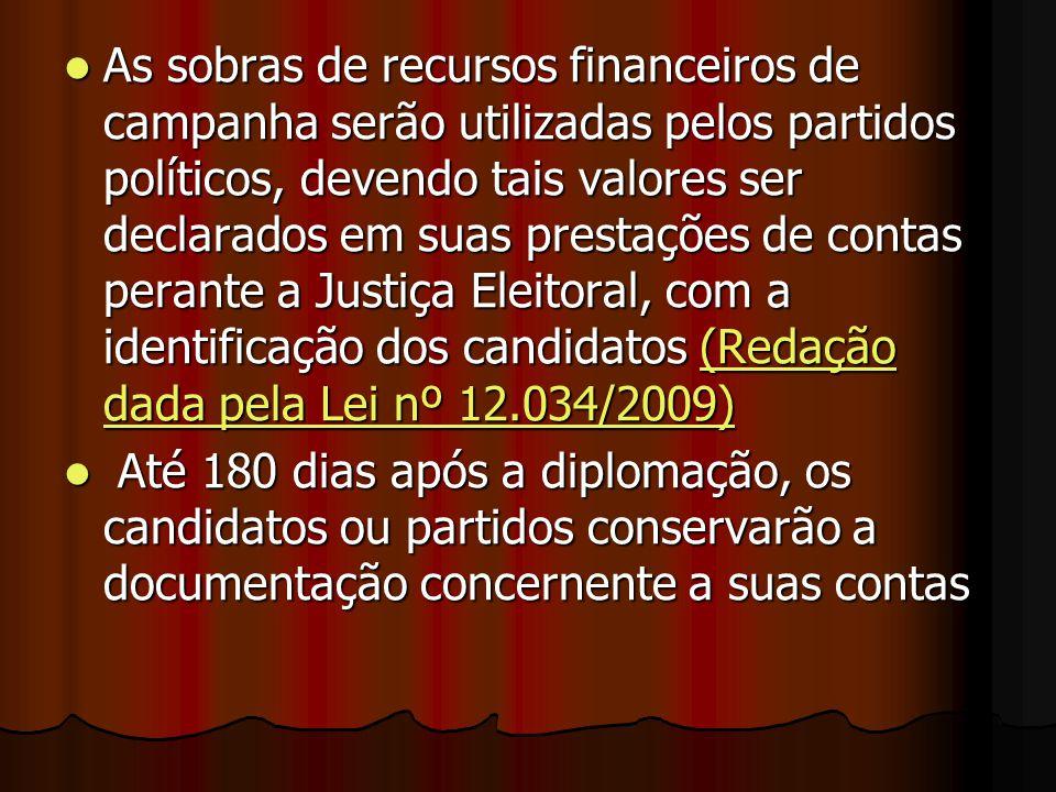 As sobras de recursos financeiros de campanha serão utilizadas pelos partidos políticos, devendo tais valores ser declarados em suas prestações de contas perante a Justiça Eleitoral, com a identificação dos candidatos (Redação dada pela Lei nº 12.034/2009)