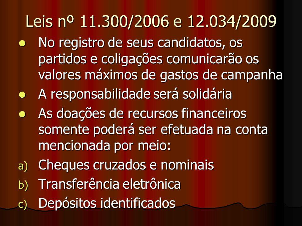 Leis nº 11.300/2006 e 12.034/2009 No registro de seus candidatos, os partidos e coligações comunicarão os valores máximos de gastos de campanha.