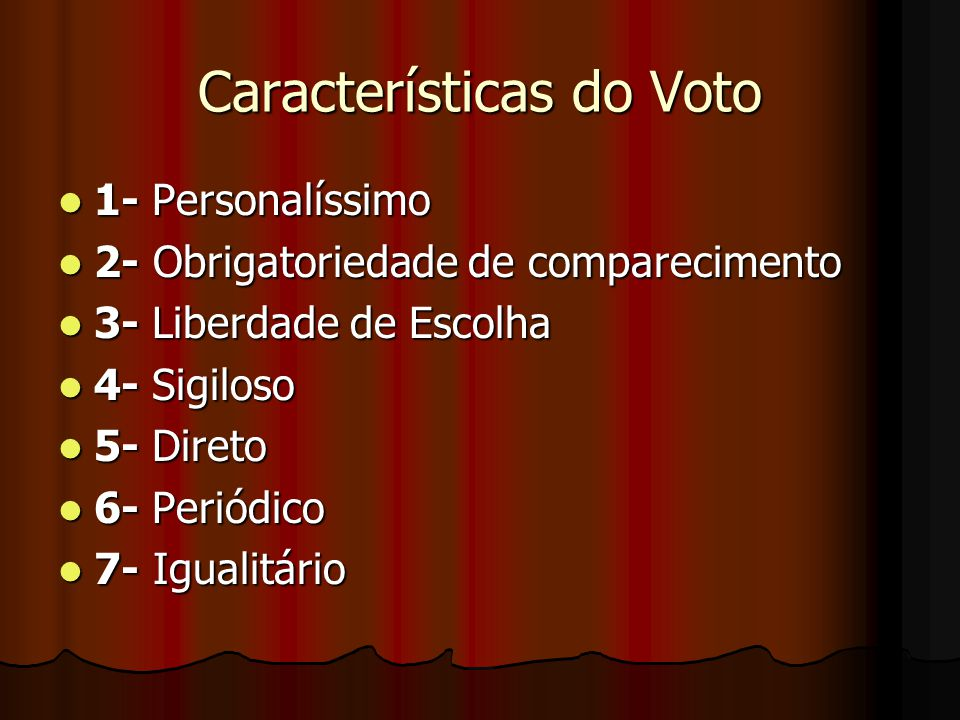Características do Voto